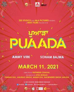 """AMMY VIRK & SONAM BAJWA STARRING """"PUAADA"""" : Releasing On 11th March 2021"""